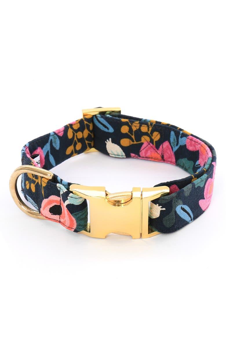 THE FOGGY DOG Rosa Floral Dog Collar, Main, color, NAVY FLORAL