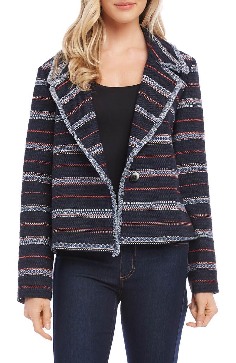 KAREN KANE Stripe Tweed Jacket, Main, color, 001