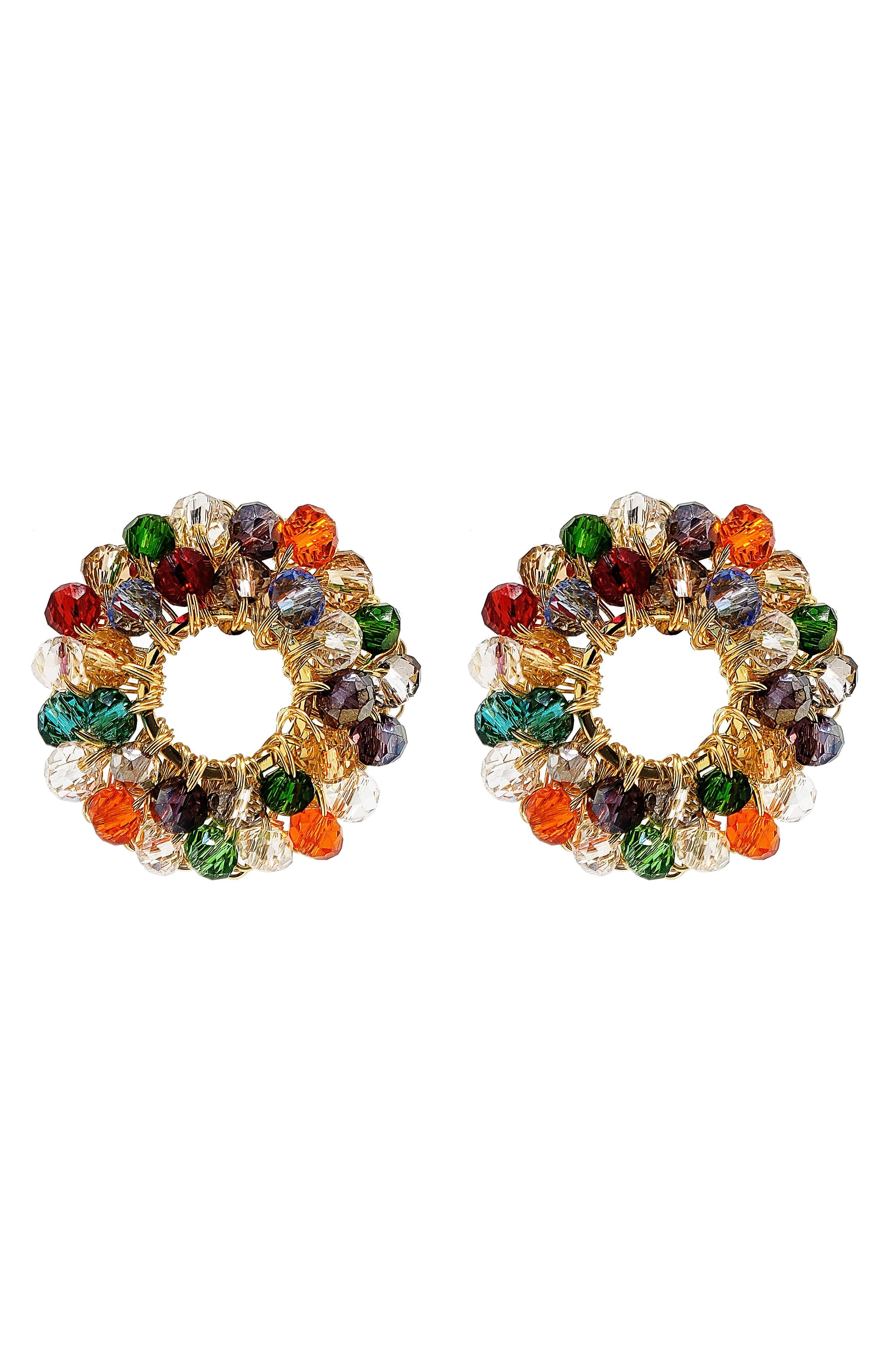 Beaded Frontal Hoop Earrings