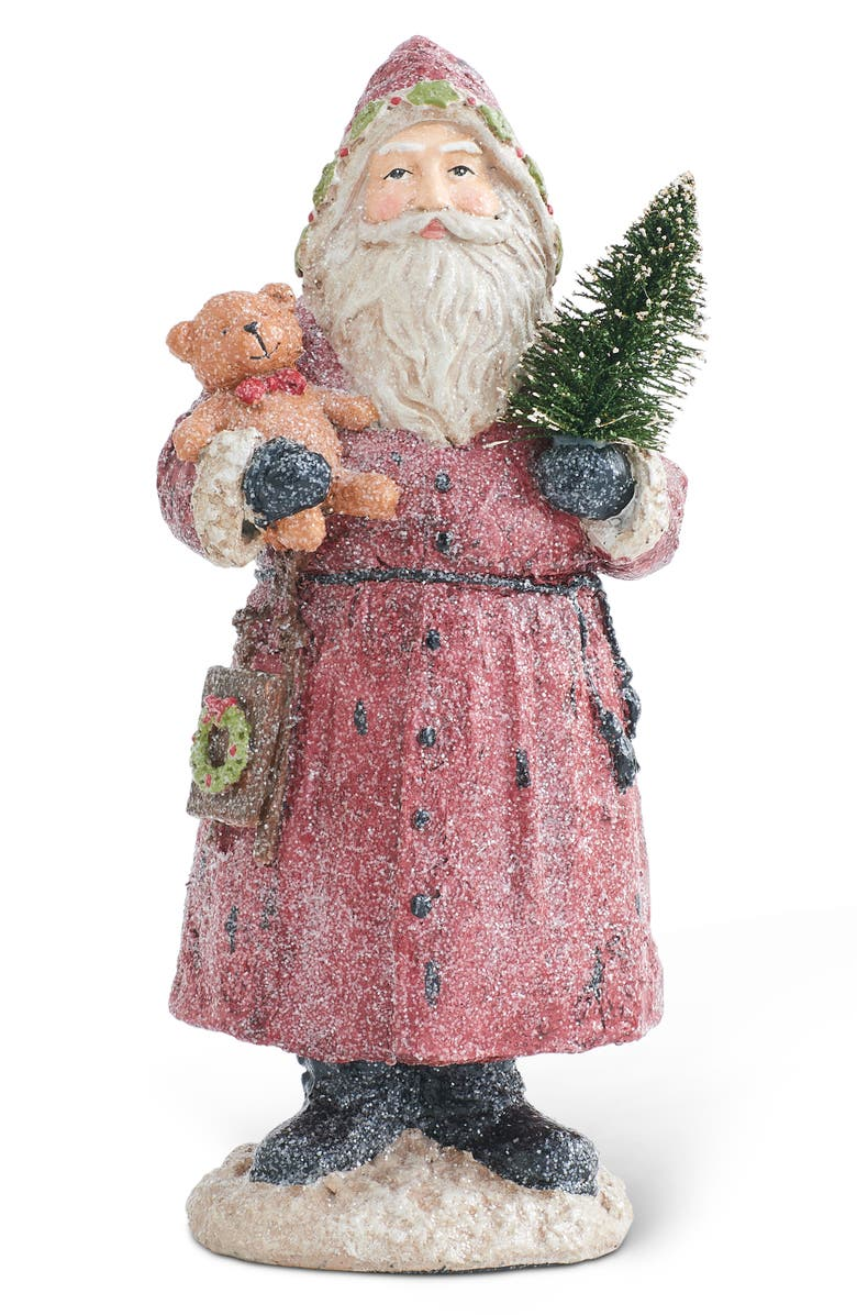 K & K INTERIORS Snow Dusted Santa Statue, Main, color, RED