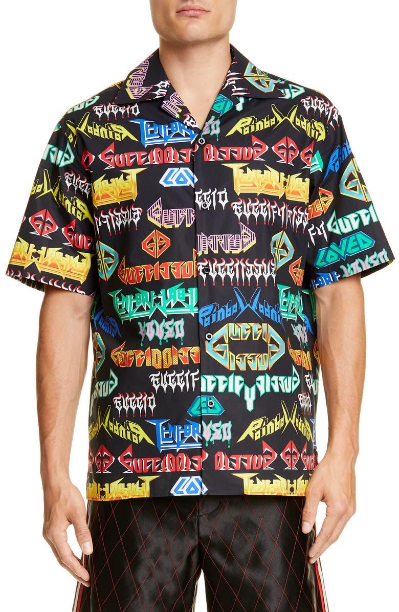GUCCI Metal Mix Sport Shirt, Main, color, BLACK MULTICOLOR