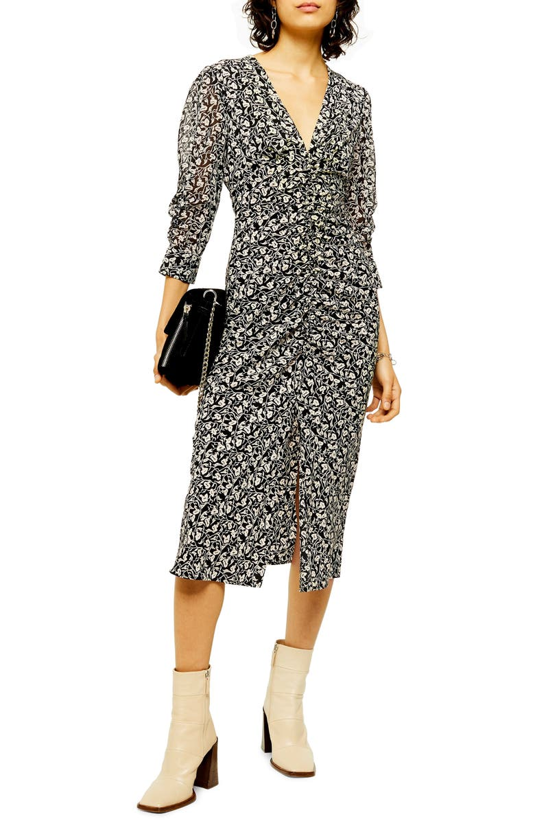 TOPSHOP Ruched Floral Print Dress, Main, color, BLACK MULTI