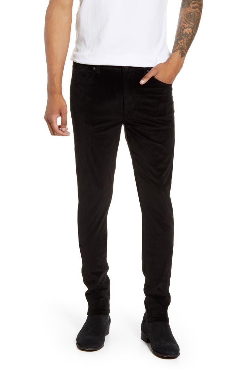 MONFRÈRE Greyson Velveteen Skinny Fit Jeans, Main, color, VELVET NOIR