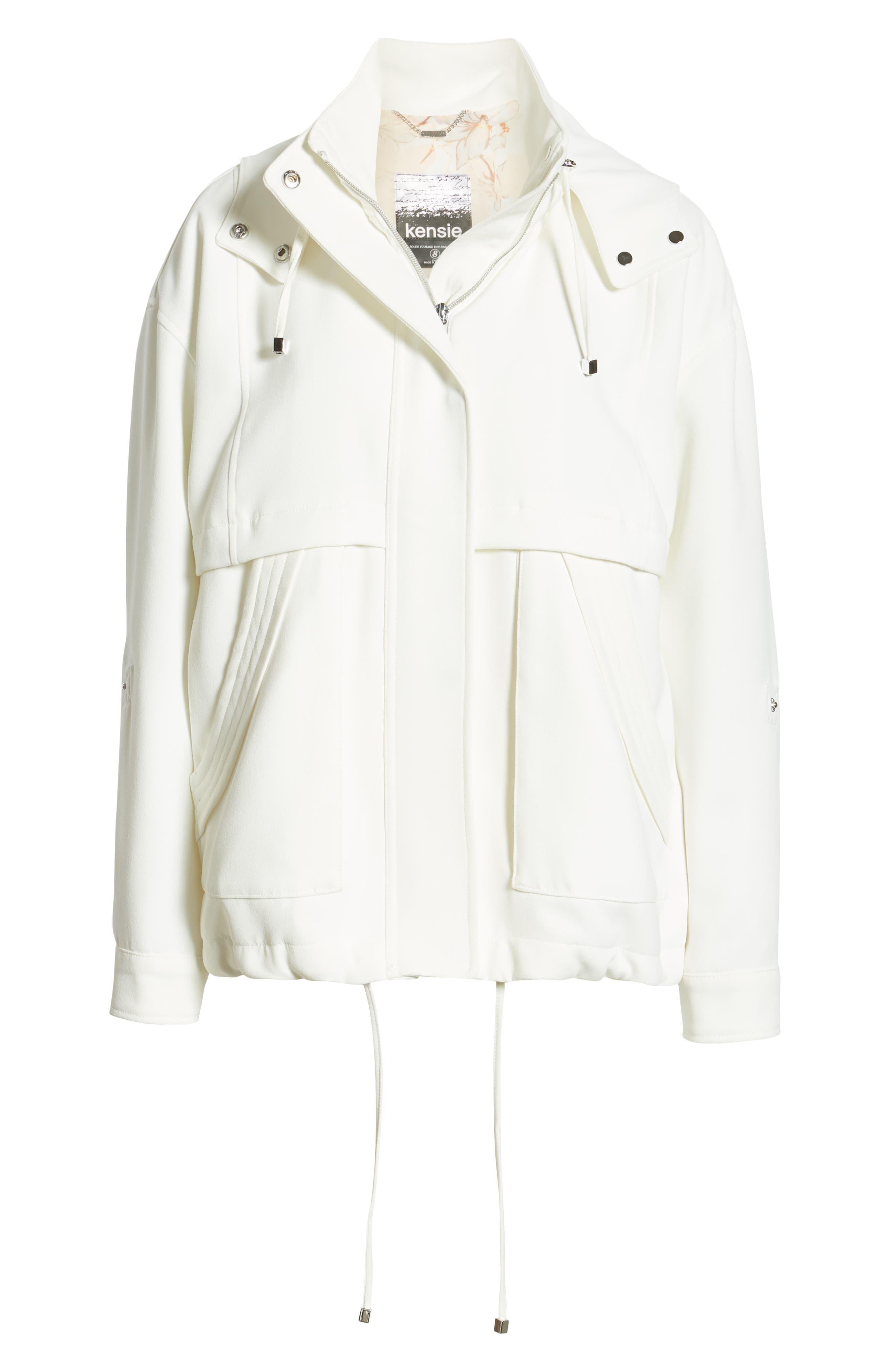 ,                             Crepe Blouson Hooded Jacket,                             Alternate thumbnail 7, color,                             WHITE