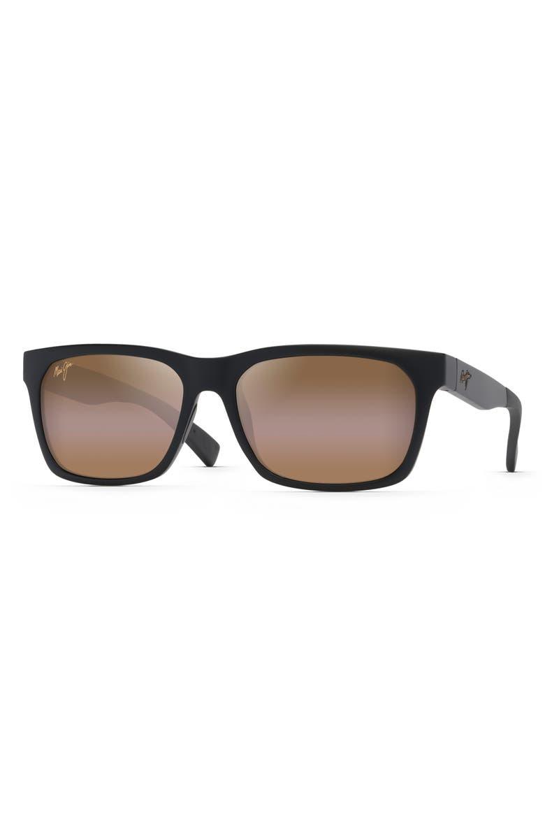 MAUI JIM Boardwalk 54mm PolarizedPlus2<sup>®</sup> Sunglasses, Main, color, MATTE BLACK/ BRONZE