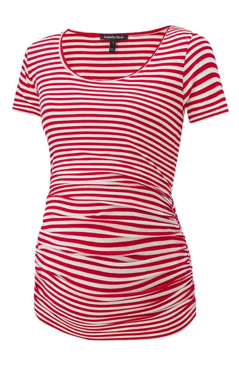 ISABELLA OLIVER Jenna Maternity Top, Main, color, RED/OFF WHITE STRIPE