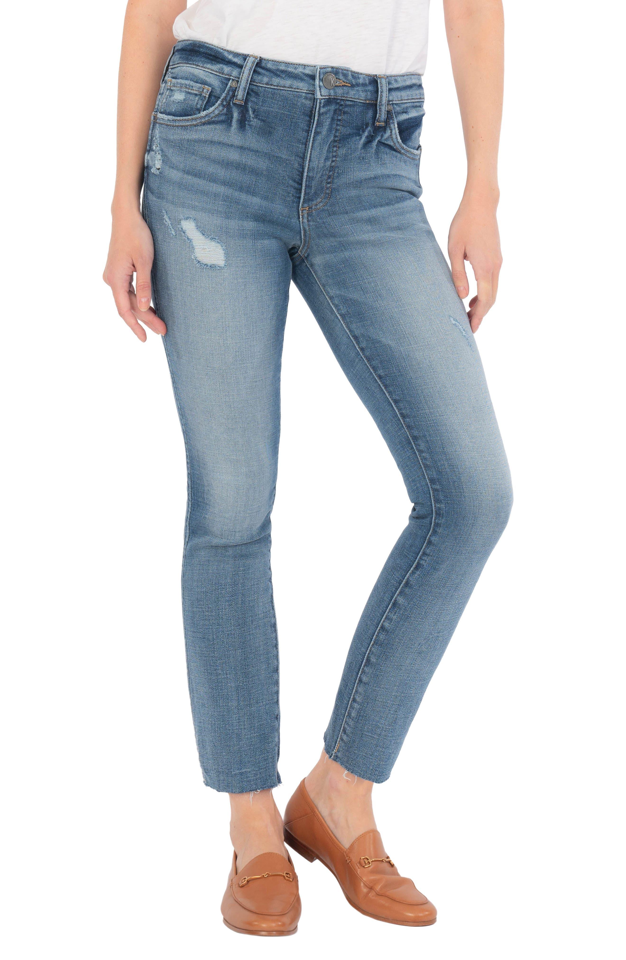 Reese Raw Hem High Waist Ankle Straight Leg Jeans