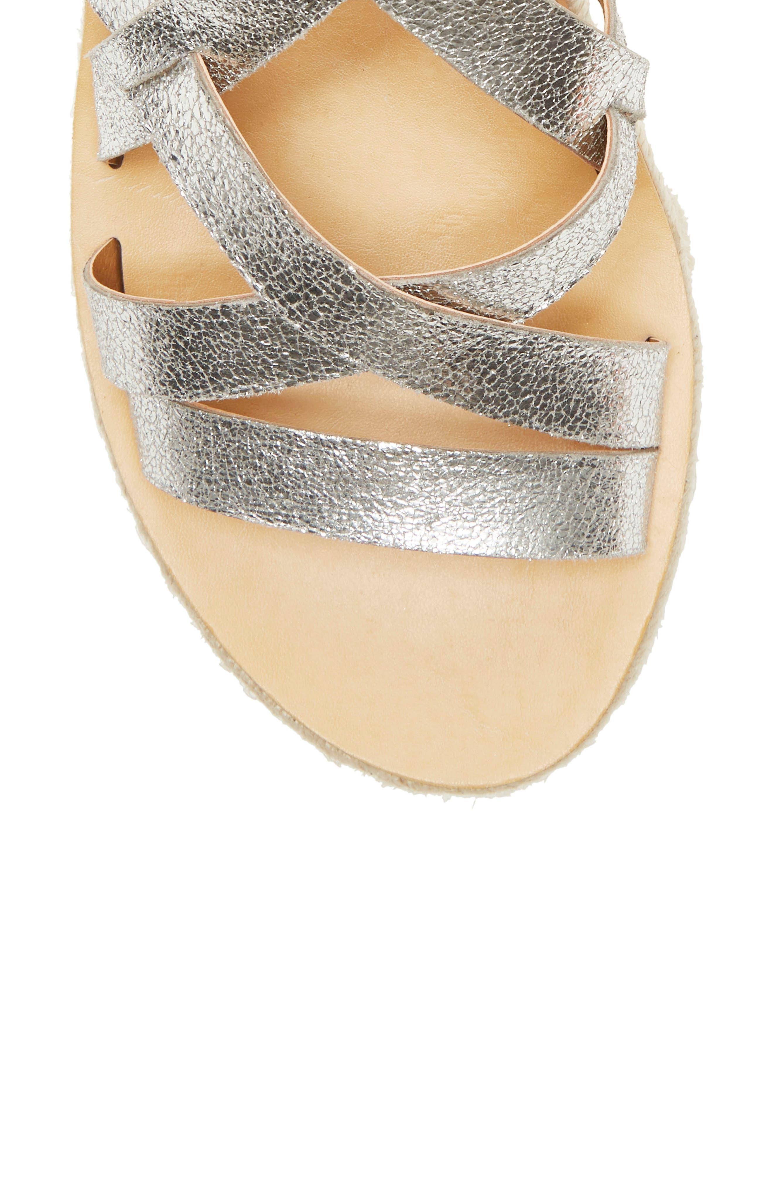 ,                             Jenepper Platform Wedge Sandal,                             Alternate thumbnail 8, color,                             SILVER LEATHER