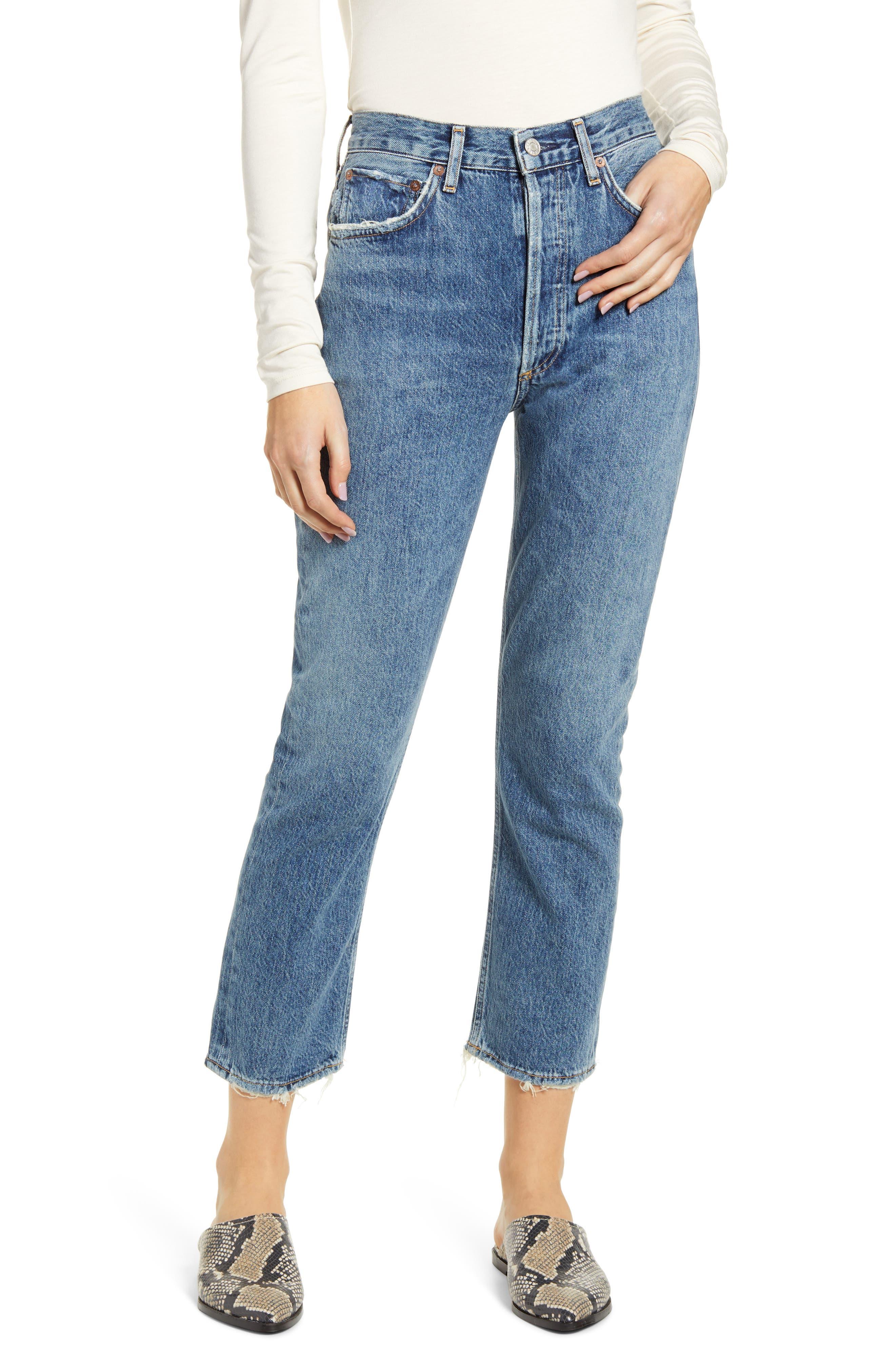 Women's Agolde Riley High Waist Crop Straight Leg Jeans