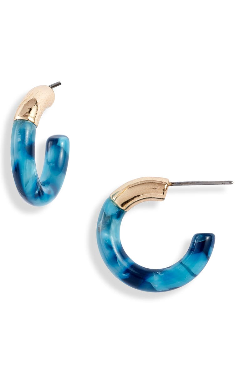 LELE SADOUGHI Mini Hoop Earrings, Main, color, TEAL