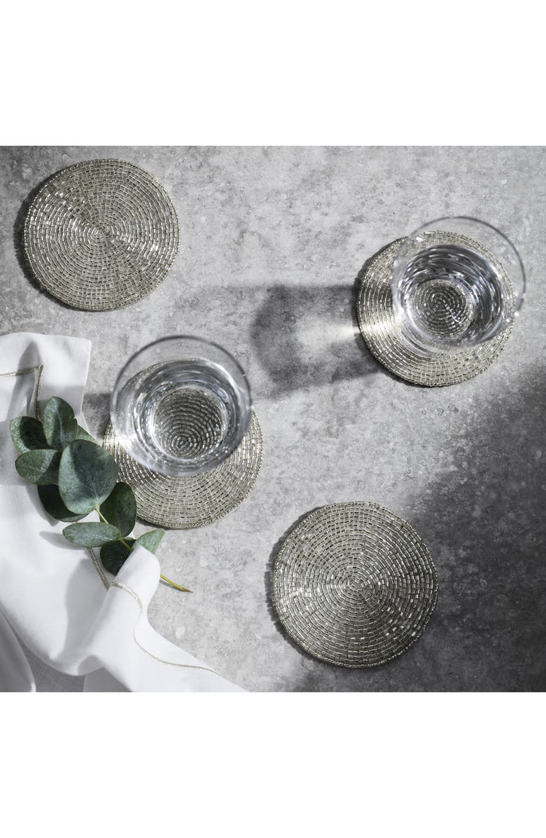 THE WHITE COMPANY Set of Four Beaded Coasters, Main, color, WHITE