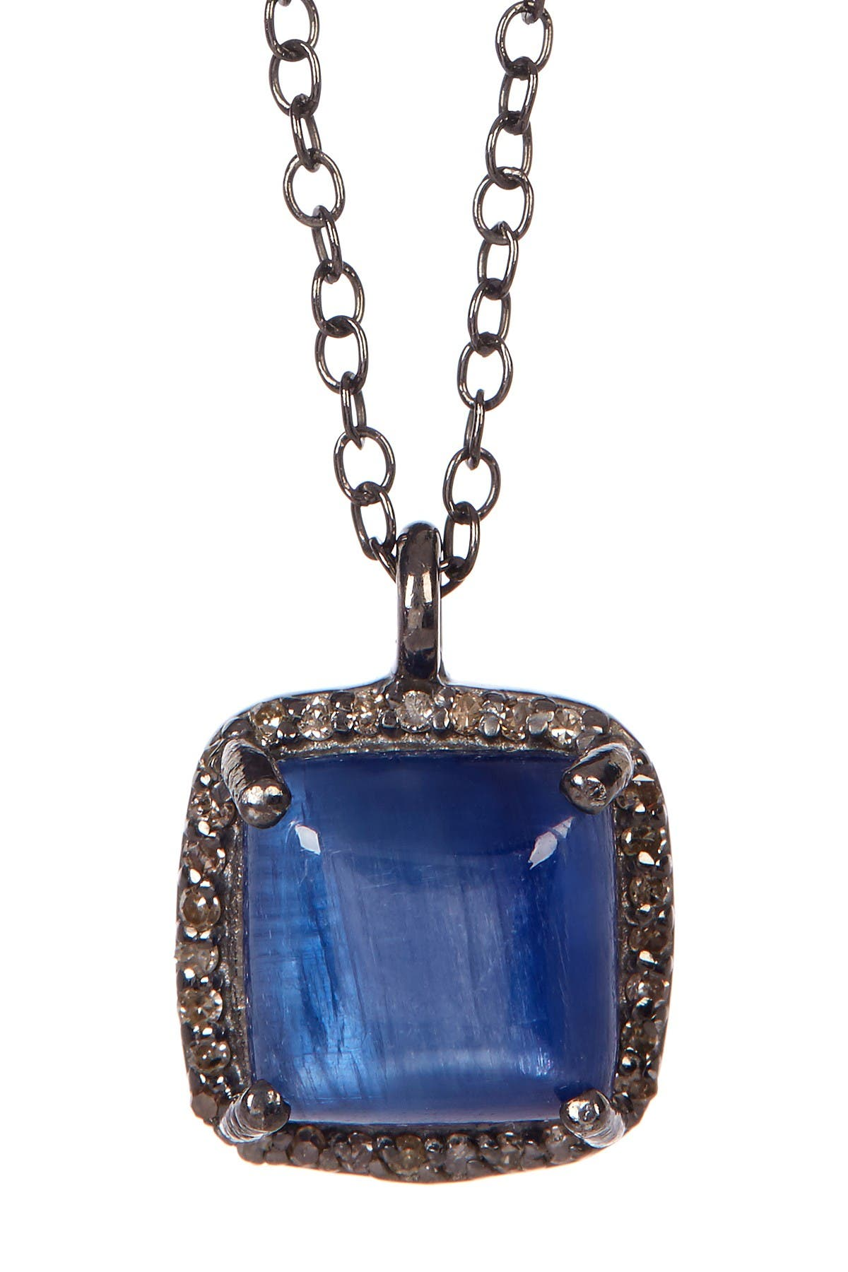 Image of ADORNIA Kyanite Diamond Halo Pendant Mini Zora Necklace - 0.50 ctw