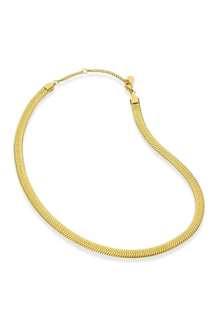 Image of Savvy Cie 18K Gold Herringbone Wide Chain Necklace
