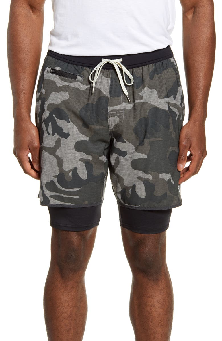 VUORI Stockton Layered Compression Performance Shorts, Main, color, GREY CAMO