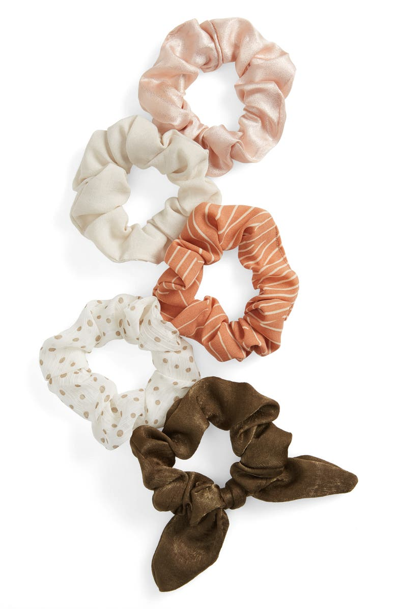 BP. 5-Pack Assorted Scrunchies, Main, color, TAUPE