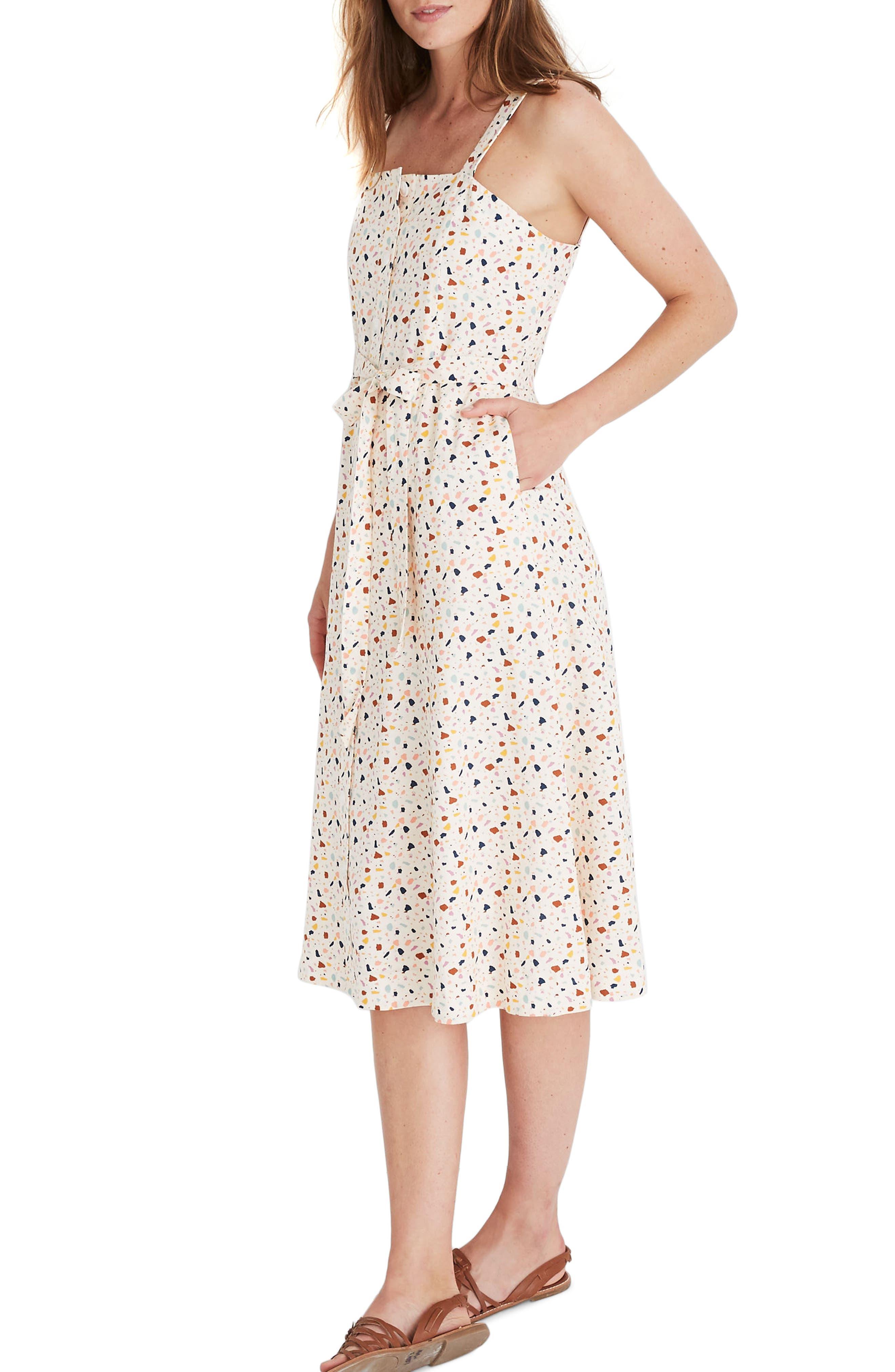 Madewell Terrazzo Square Neck Midi Dress, 2 (similar to 20W-2) - Ivory