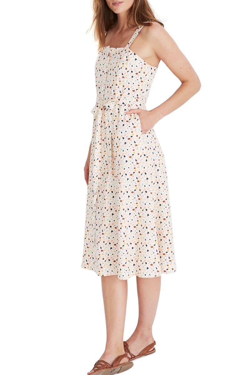 MADEWELL Terrazzo Square Neck Midi Dress, Main, color, SMALL TERAZZO ANTIQUE LACE