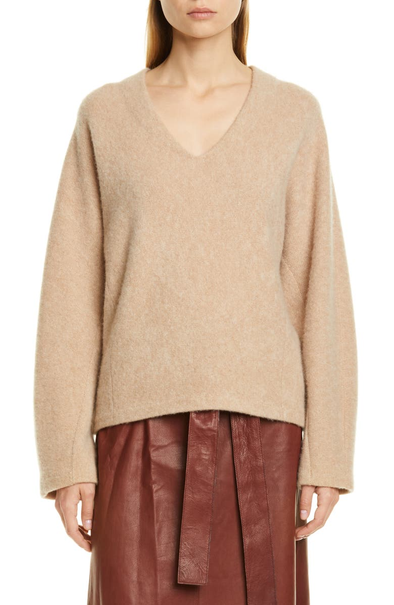 VINCE V-Neck Dolman Sleeve Cashmere Sweater, Main, color, HEATHER DESERT CLAY