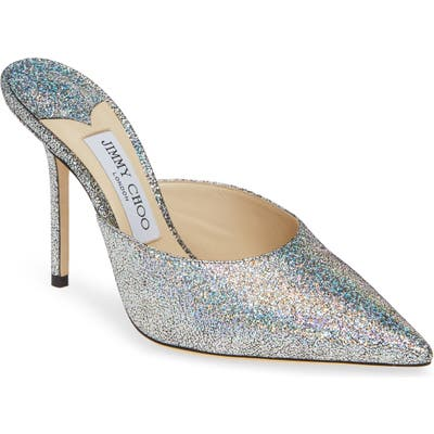 Jimmy Choo Rav Glitter Pointy Toe Mule, Metallic