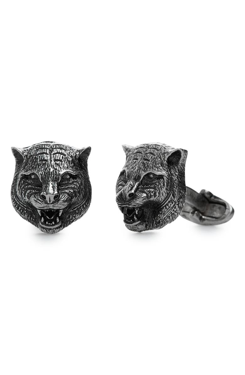GUCCI Feline Heads Cuff Links, Main, color, BRUSHED SILVER
