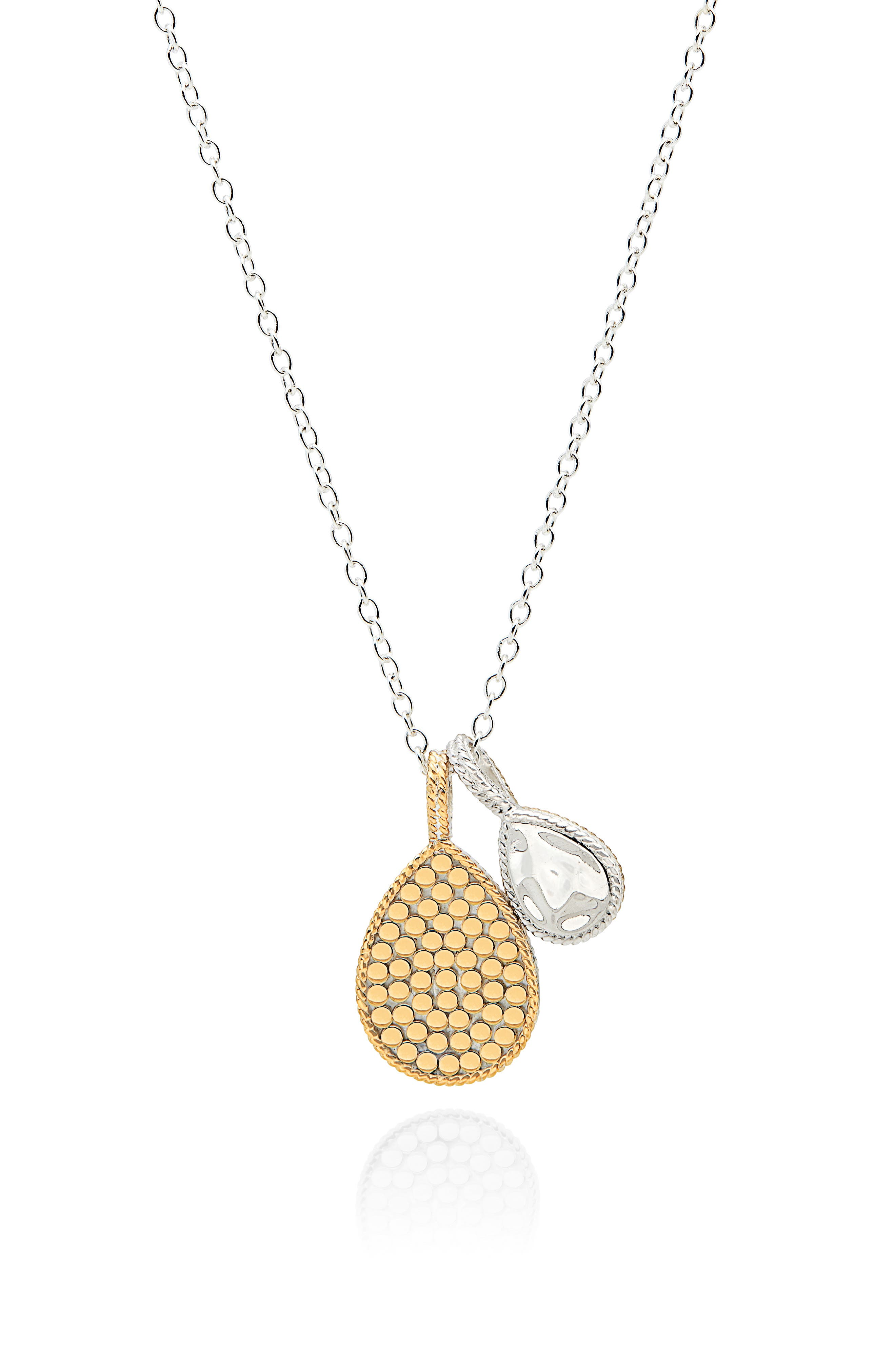 Hammered Double Drop Pendant Necklace