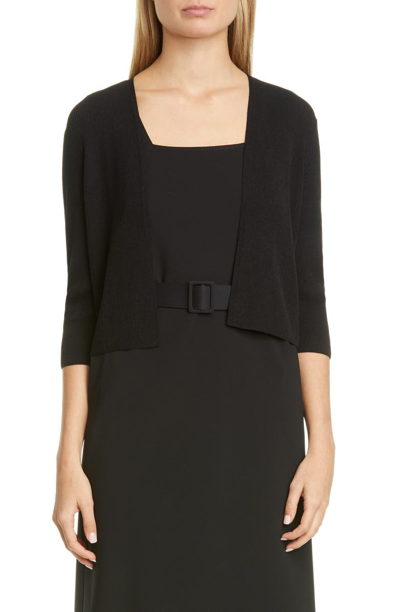LAFAYETTE 148 NEW YORK Open Front Crop Cardigan, Main, color, BLACK