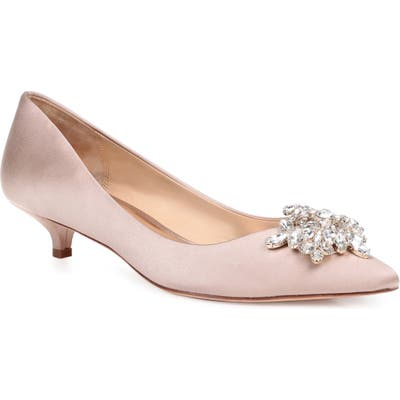 Badgley Mischka Vail Embellished Kitten Heel Pump, Beige