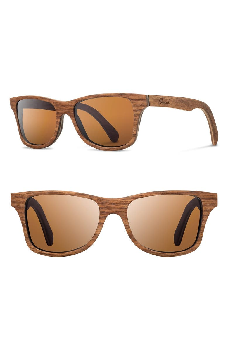 SHWOOD 'Canby' 54mm Polarized Wood Sunglasses, Main, color, 201