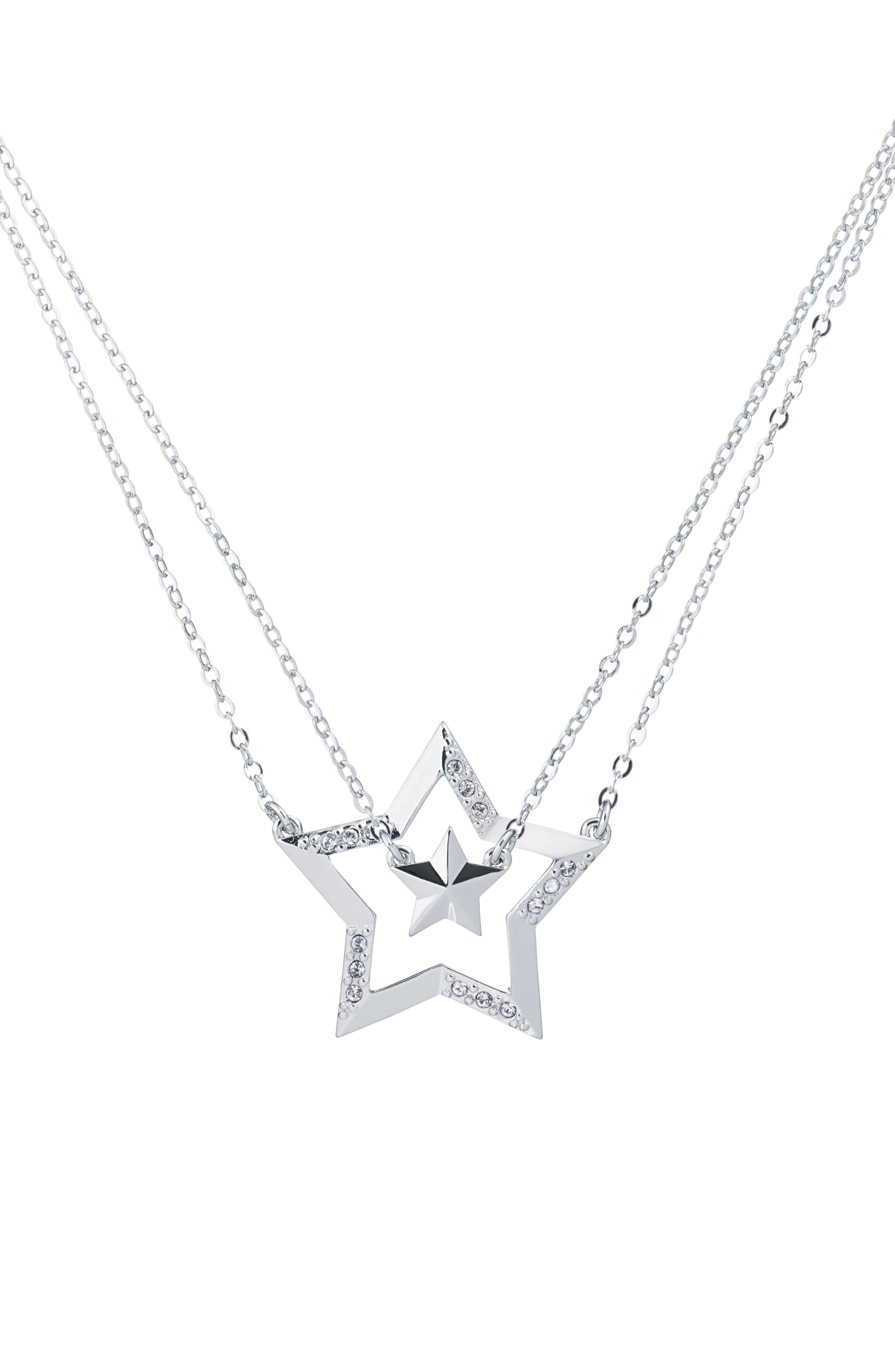 Idolina Interstella Double Pendant Set of 2 Layered Necklaces, Main, color, SILVER/ CRYSTAL