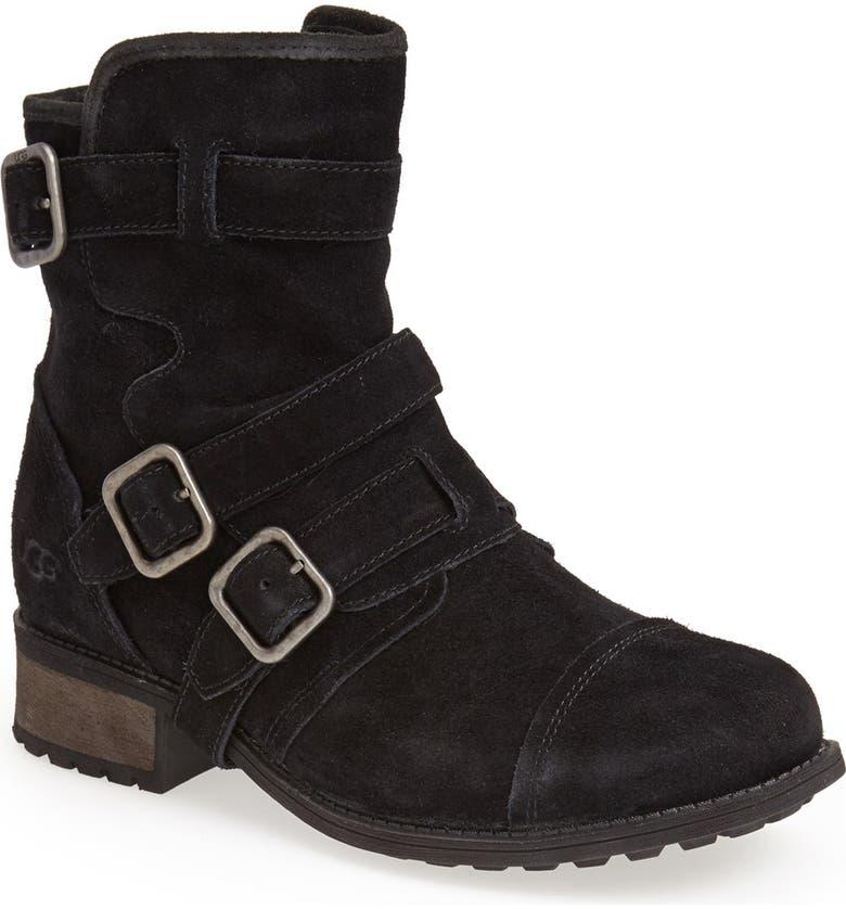 UGG<SUP>®</SUP> Australia 'Finney' Suede Moto Boot, Main, color, Black
