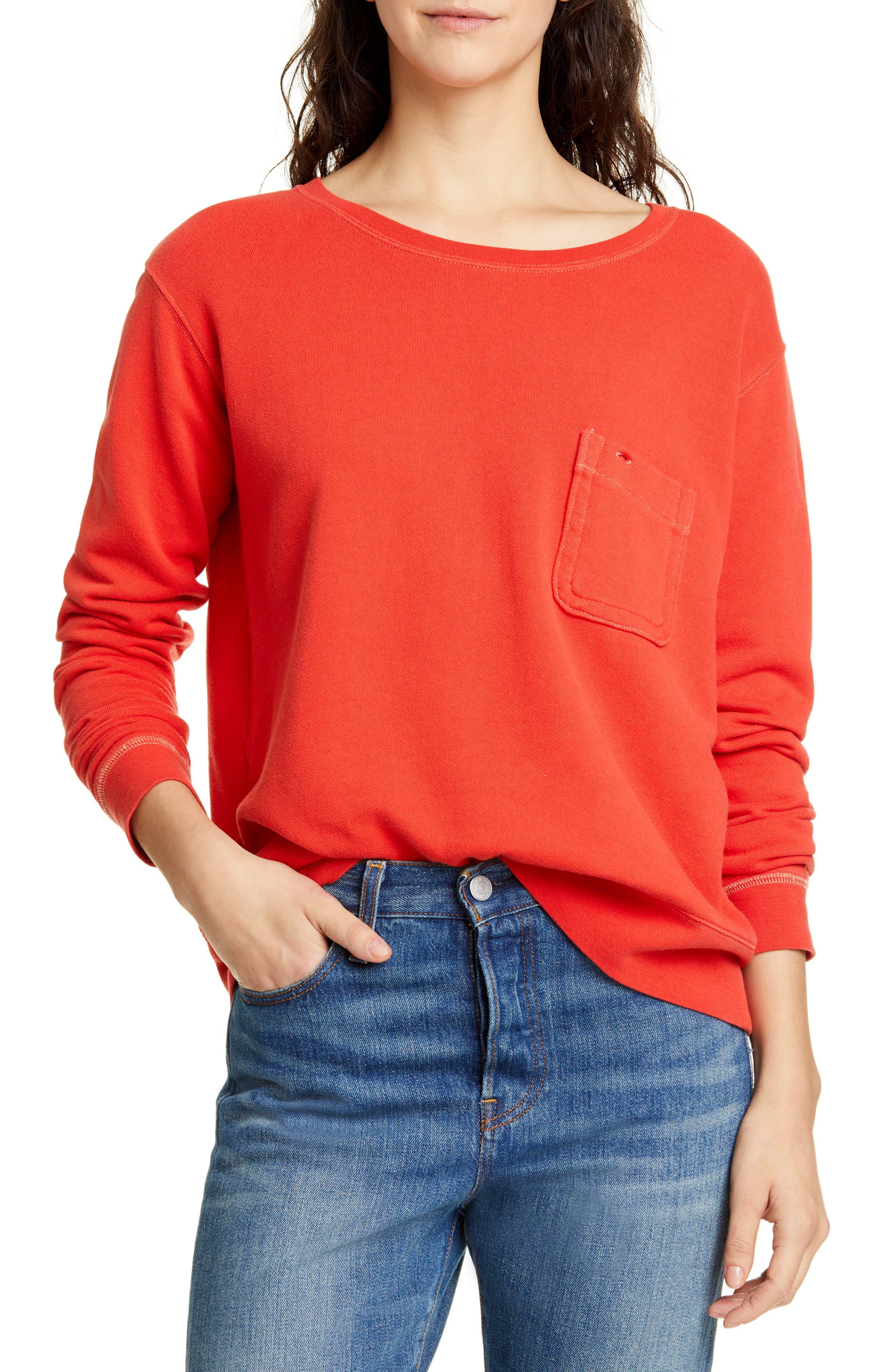 Alex Mill Fleece Pocket Sweatshirt, Red