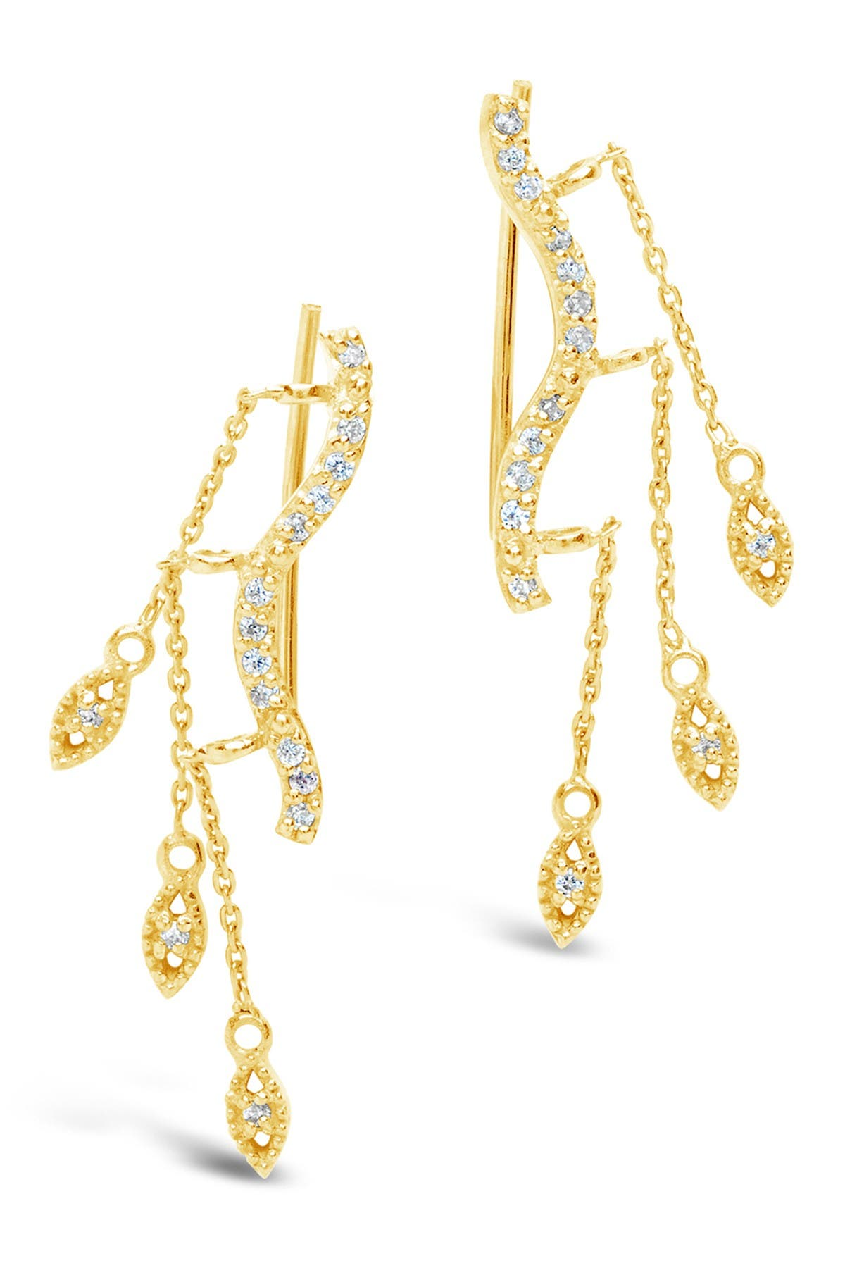 Image of Sterling Forever 14K Gold Plated Sterling Silver CZ Crawler Earrings