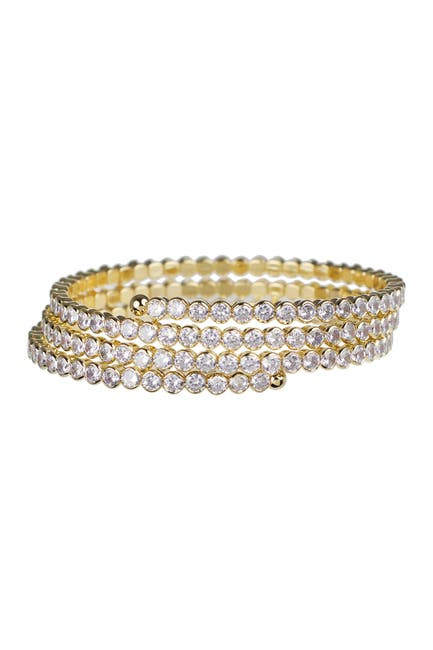 Image of CZ By Kenneth Jay Lane 18K Gold Plated Three Individual Row Round Cubic Zirconia Stretch Bracelet