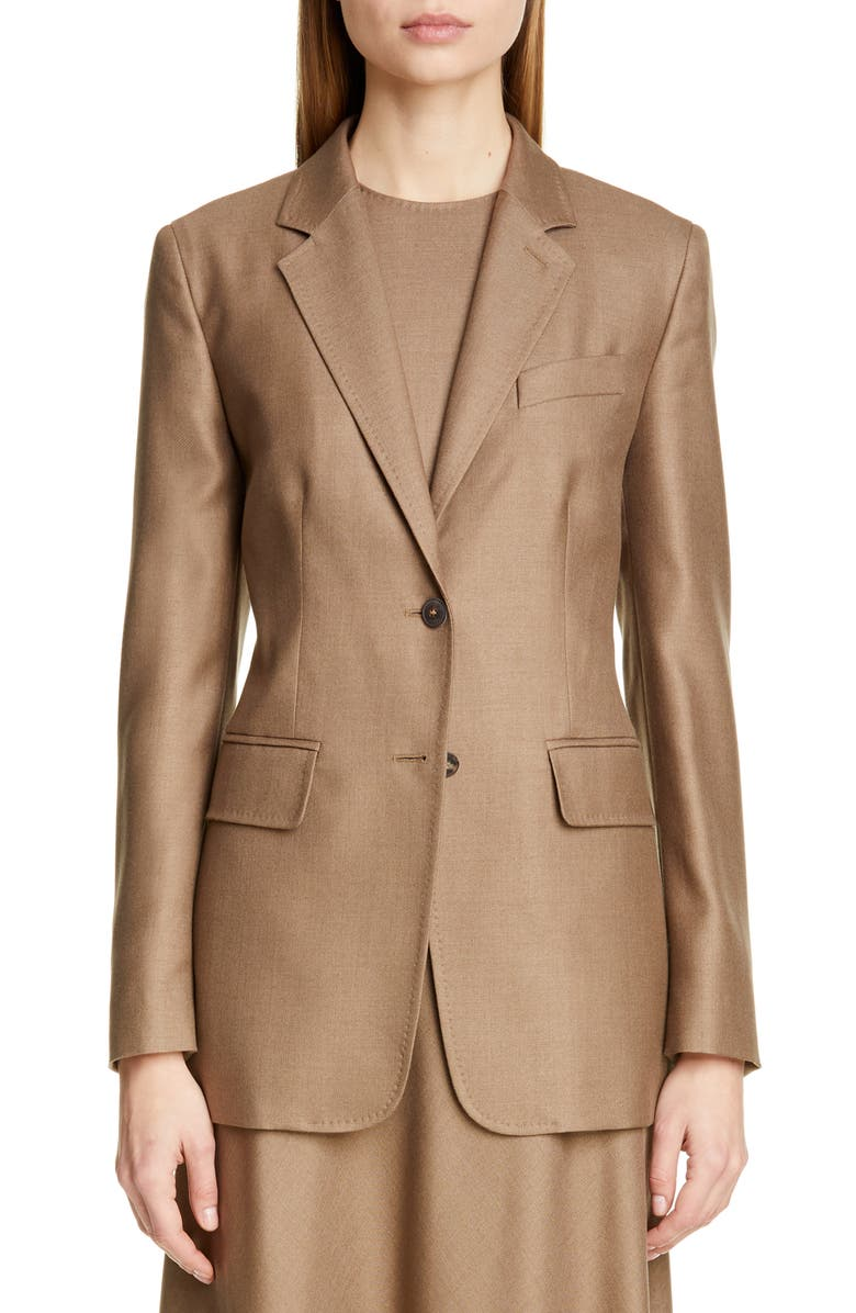 MAX MARA Rosina Camel Hair & Silk Jacket, Main, color, LIGHT BROWN