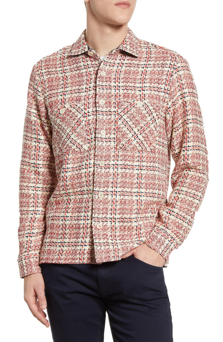 WAX LONDON Whiting Zigzag Button Up Shirt, Main, color, ECRU/ RED/ NAVY