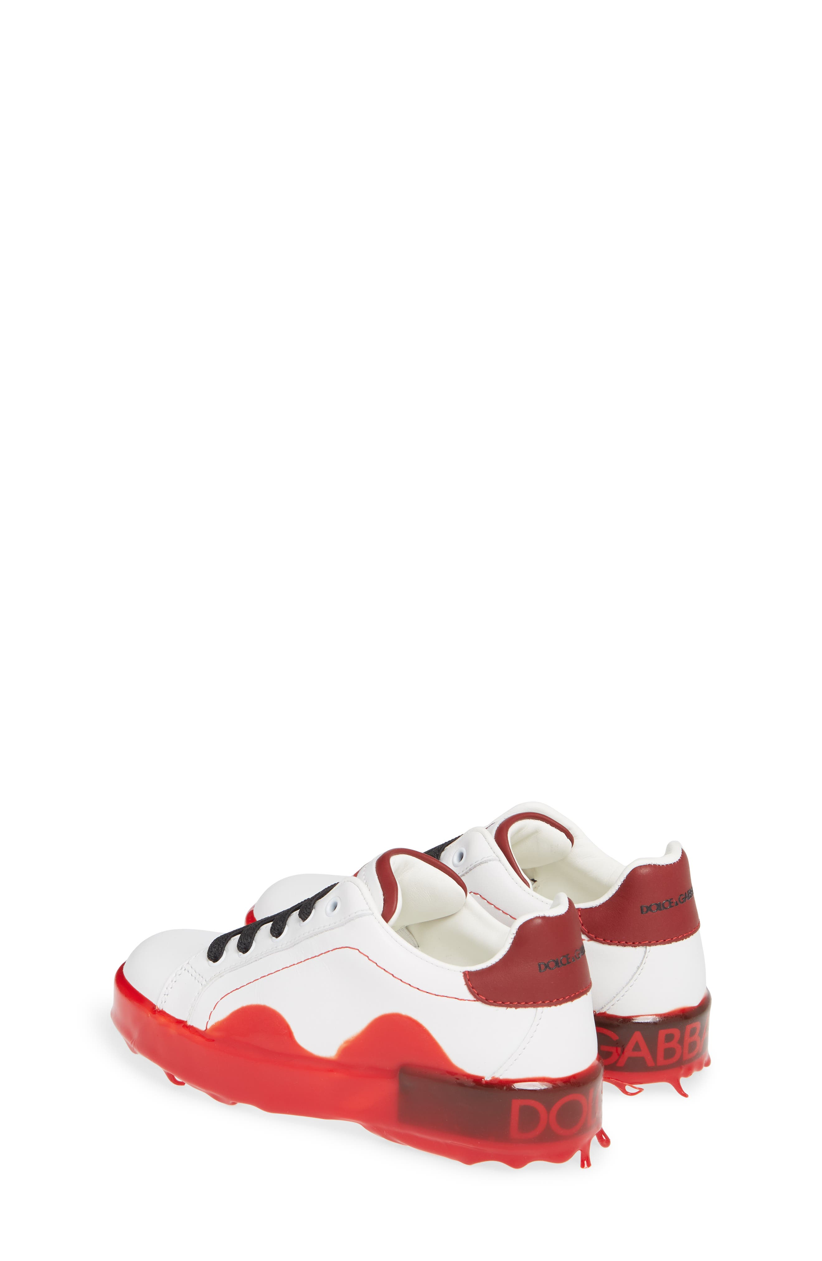 ,                             Dipped Sole Low Top Sneakers,                             Alternate thumbnail 3, color,                             WHITE/ RED