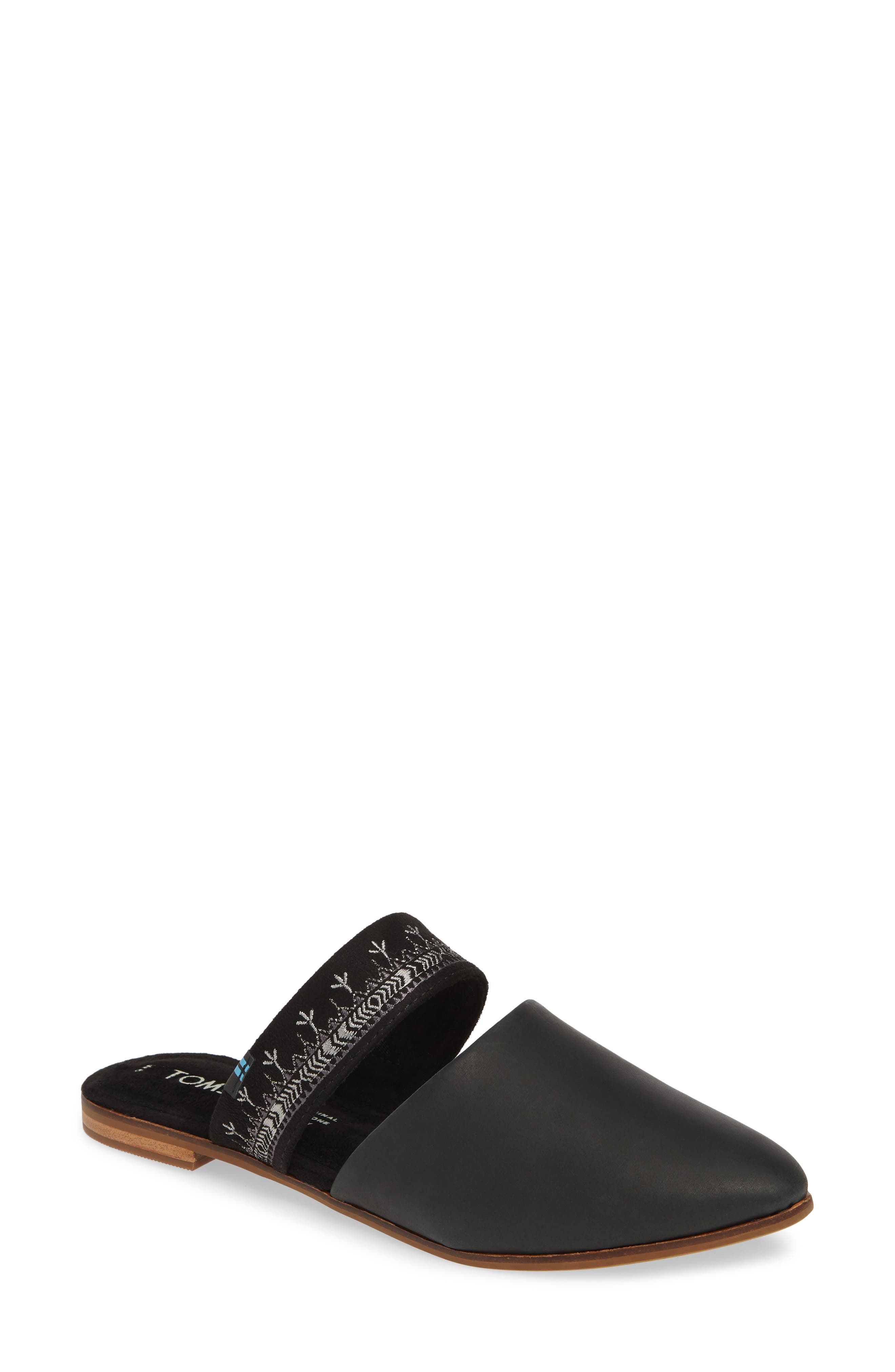 ,                             Jutti Embroidered Mule,                             Main thumbnail 1, color,                             BLACK EMBROIDERED LEATHER