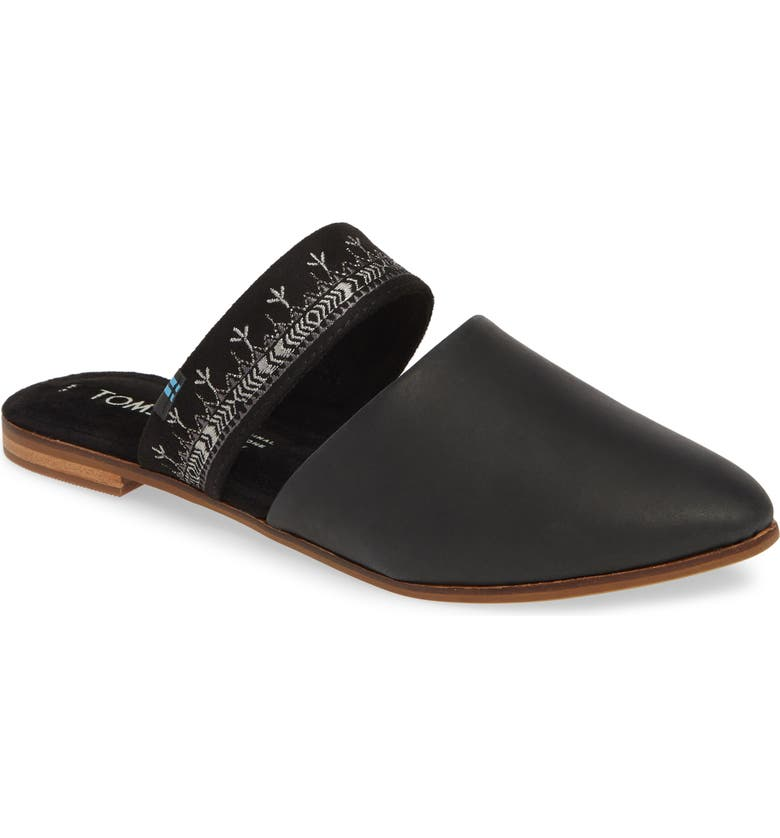 TOMS Jutti Embroidered Mule, Main, color, BLACK EMBROIDERED LEATHER