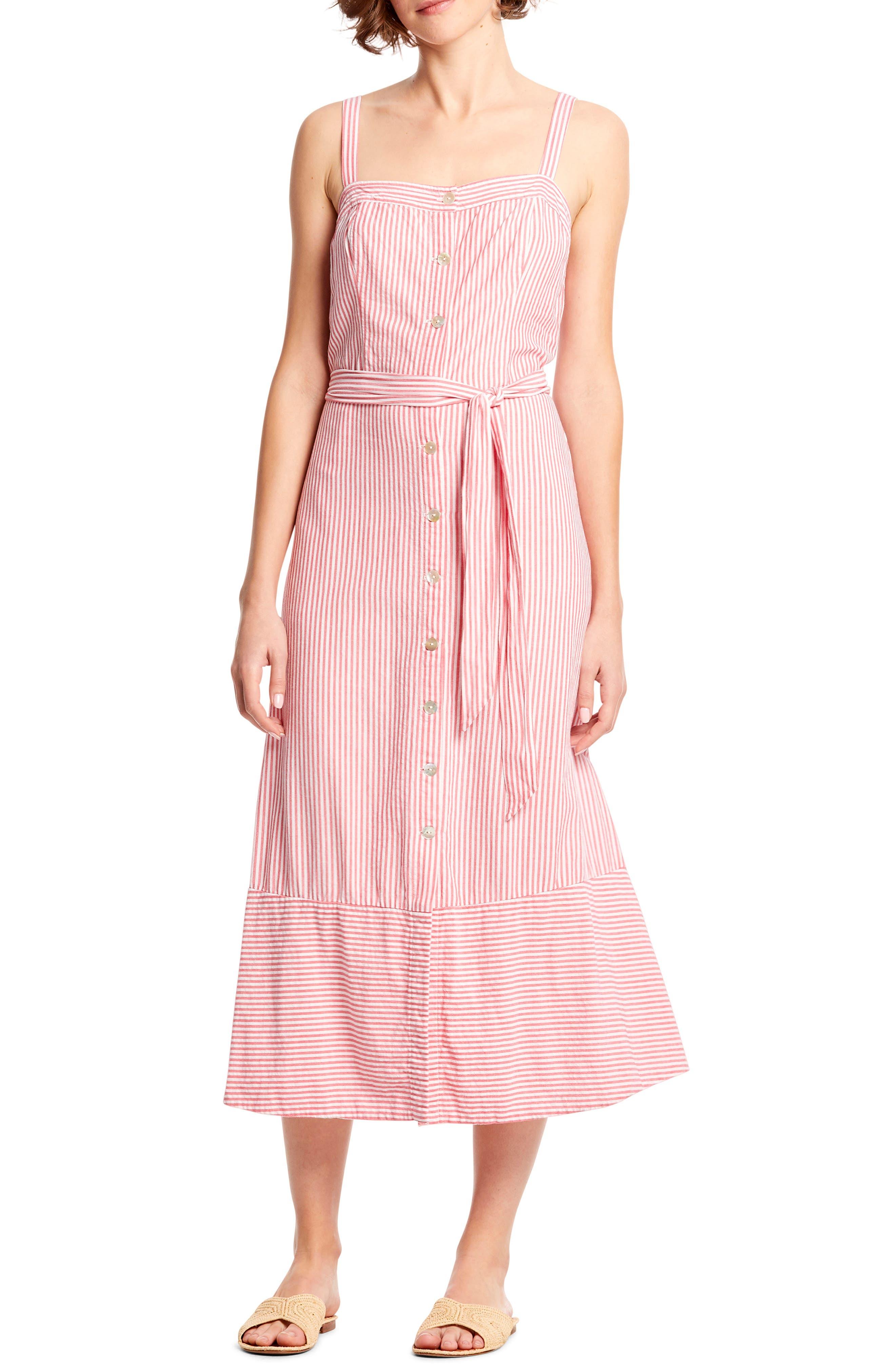 Michael Stars Raina Stripe Button Front Midi Dress, Pink