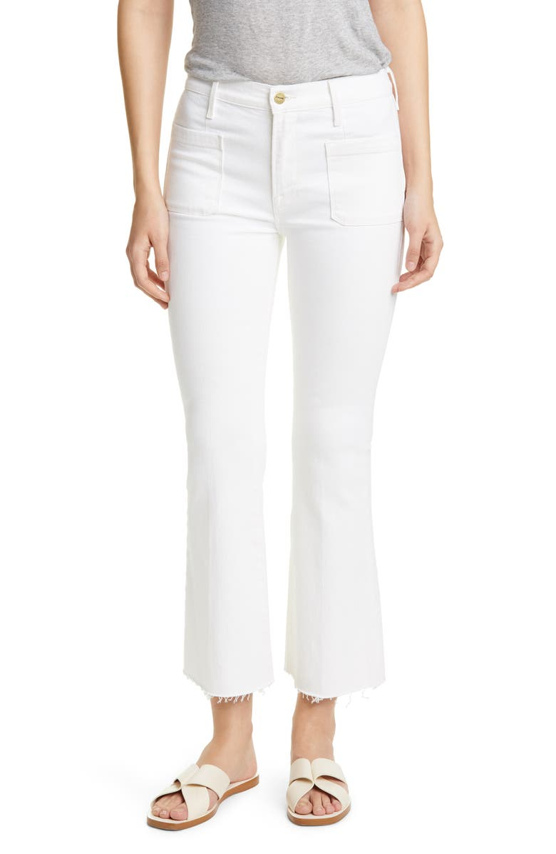 FRAME Le Bardot Patch Pocket Crop Flare Jeans, Main, color, 100