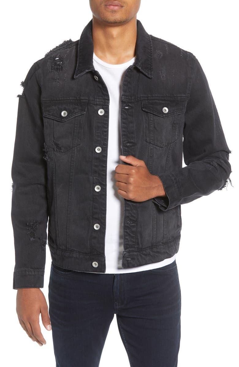 TOPMAN Ripped Western Denim Jacket, Main, color, BLACK