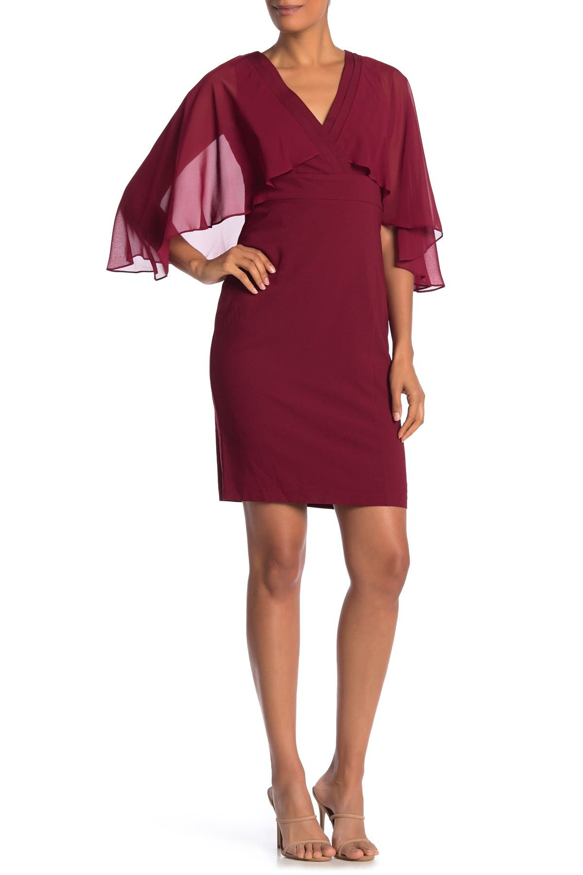 Image of Marina Surplice Cape Sleeve Sheath Dress