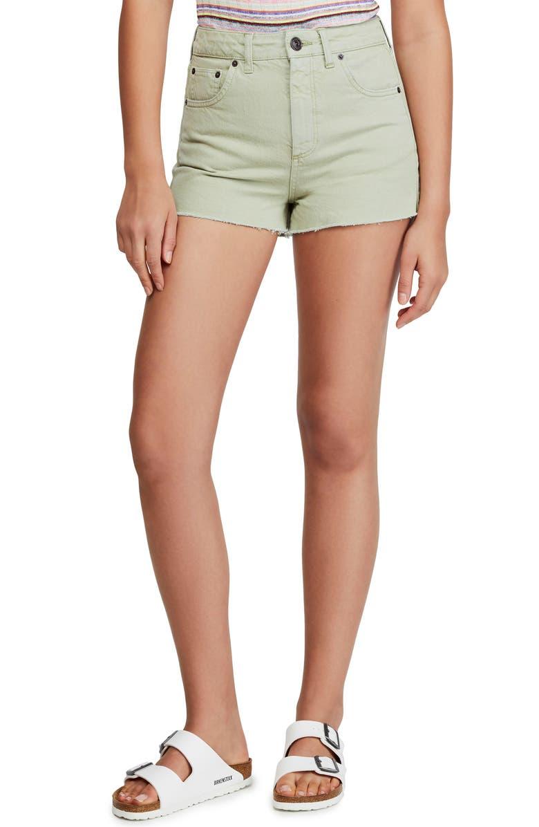 BDG Urban Outfitters High Waist Denim Mom Shorts, Main, color, GREEN