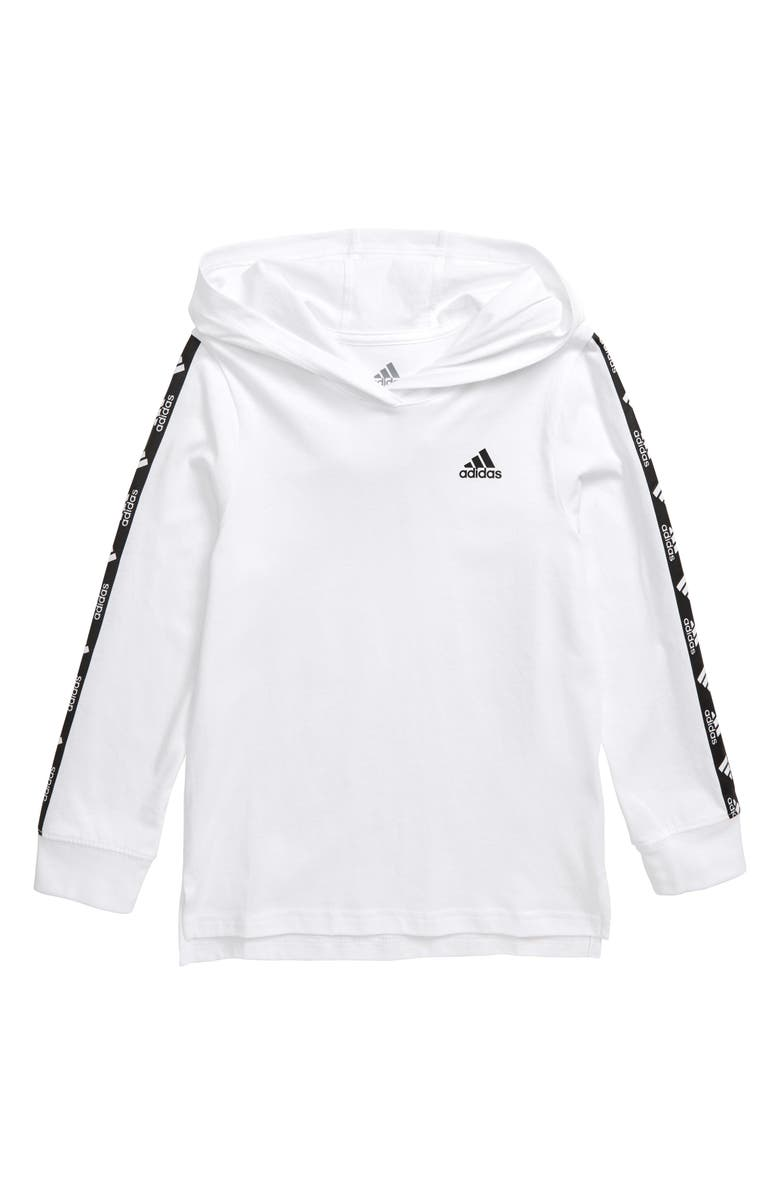ADIDAS Graphic Long Sleeve Hooded Pullover, Main, color, WHITE