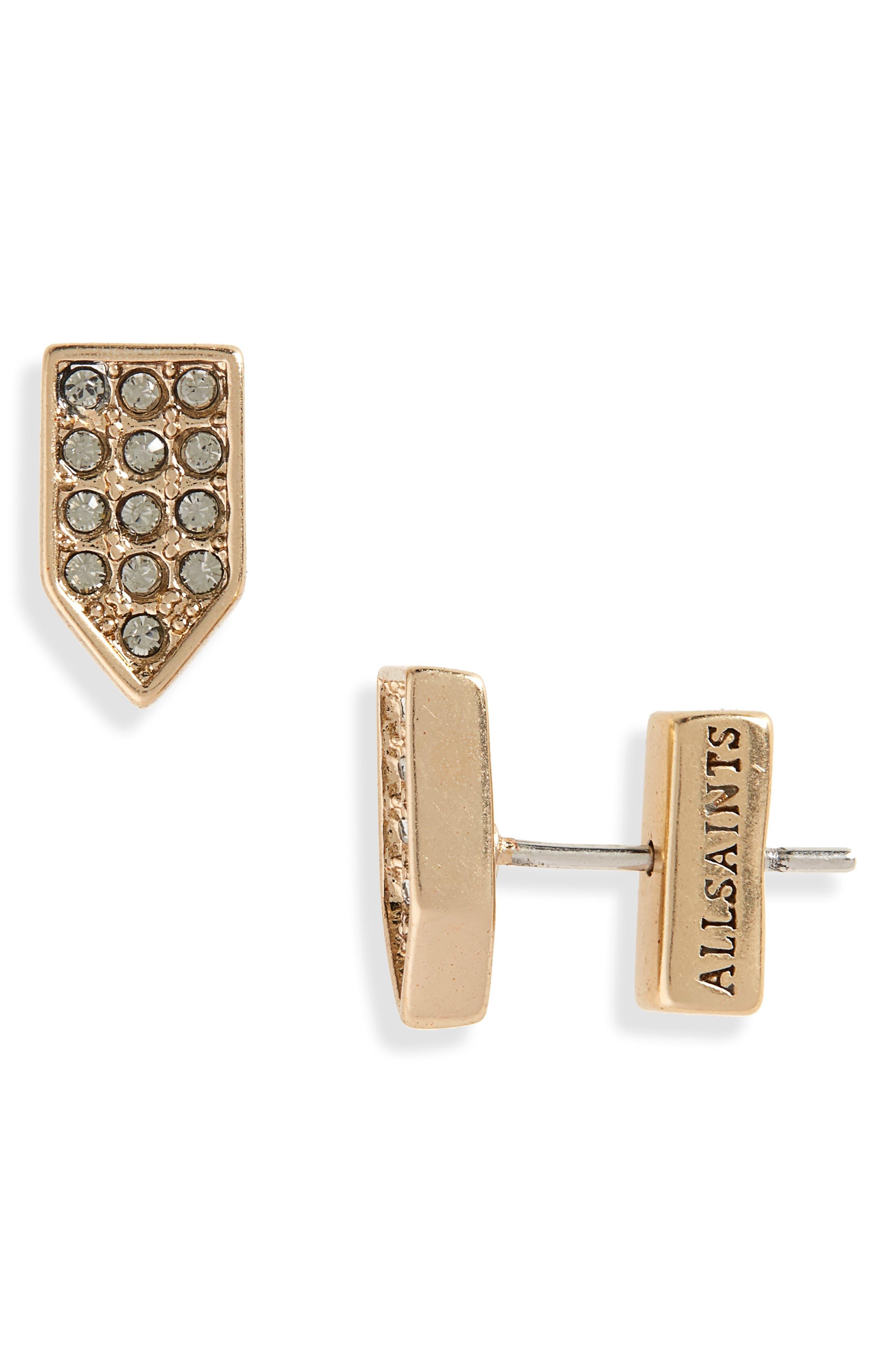 Image of ALLSAINTS Pavé Geometric Stud Earrings