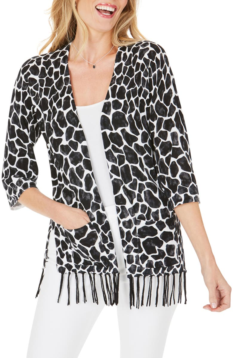 FOXCROFT Flora Animal Print Fringe Cotton Blend Cardigan, Main, color, BLACK