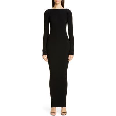 Alexander Wang Zipper Neck Long Sleeve Ribbed Maxi Sweater Dress, Black