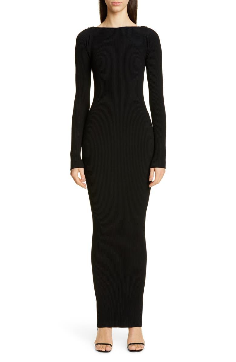 Zipper Neck Long Sleeve Ribbed Maxi Sweater Dress by Alexander Wang
