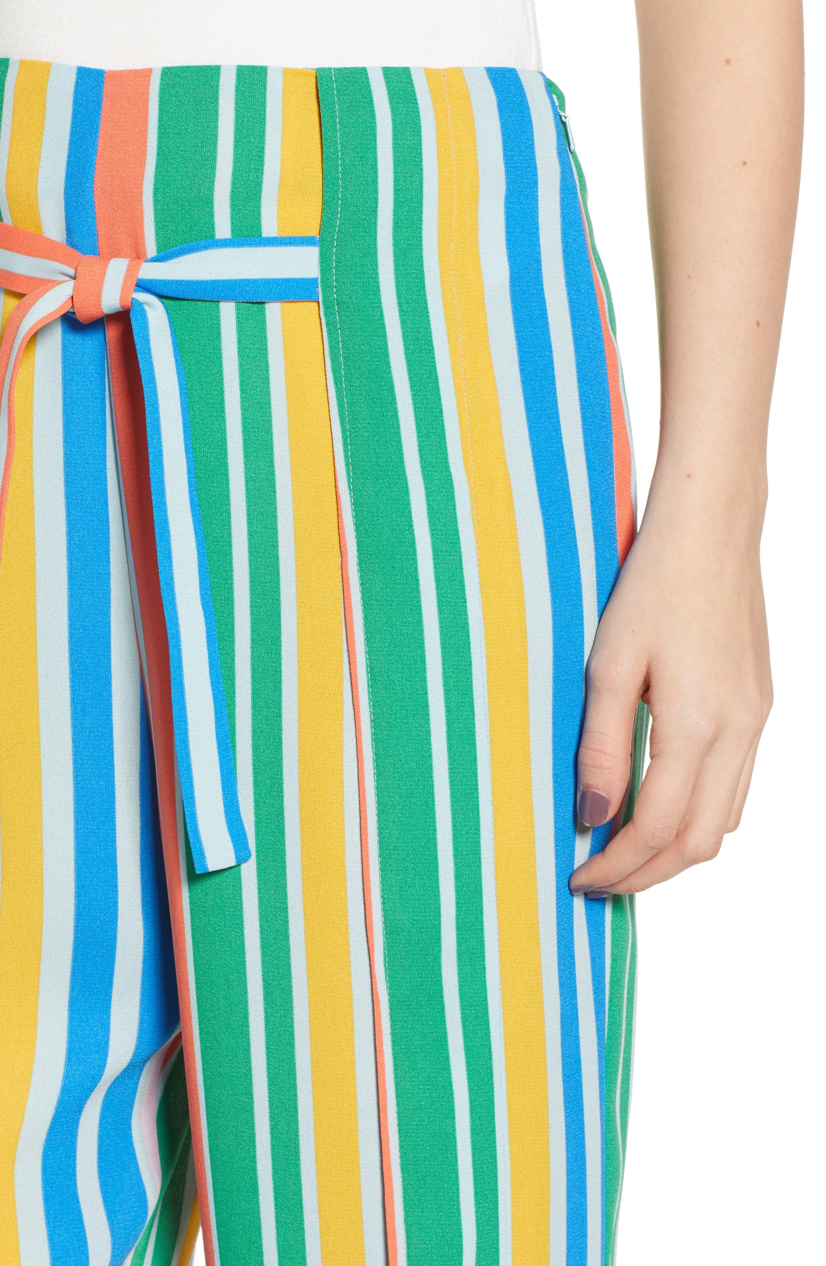 ,                             Tie Front Wide Leg Pants,                             Alternate thumbnail 7, color,                             BLUE FRENCH MULTI STRIPE