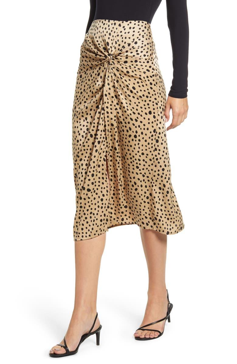 STATESIDE Leopard Twist Skirt, Main, color, TAN